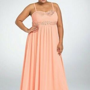 Torrid Gown Plus Size 14W Pink/Peach Special Event